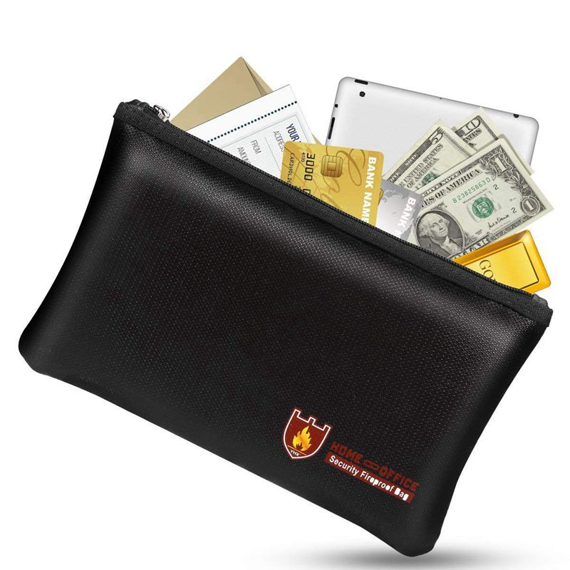 Fireproof Money Safe Document Bag. NON-ITCHY Silicone Coated Fire & Water Resistant Safe Cash Bag. Fireproof Safe Storage For A5