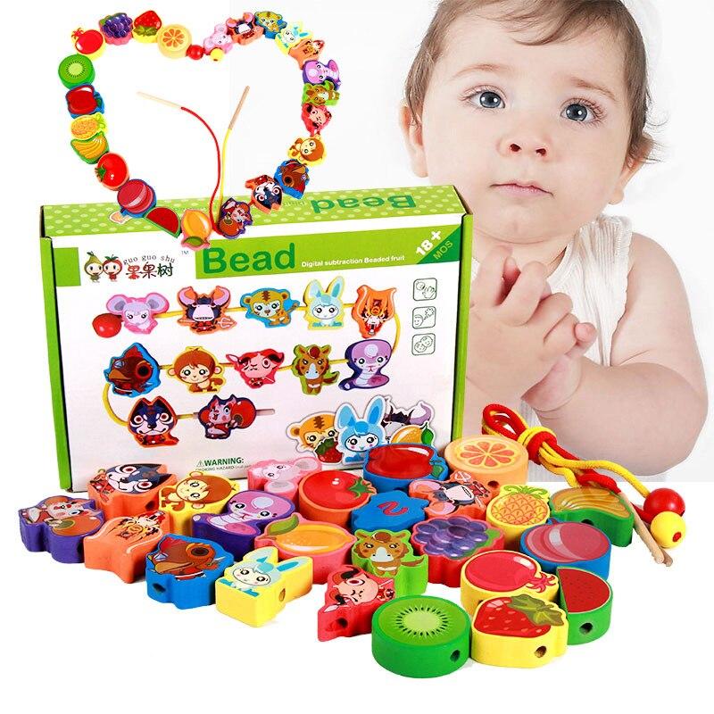 Grande taille fruits animaux Bracelet perlé éducatif petite enfance jouets en bois Bracelet perlé perle-cordage jouet en bois perlé
