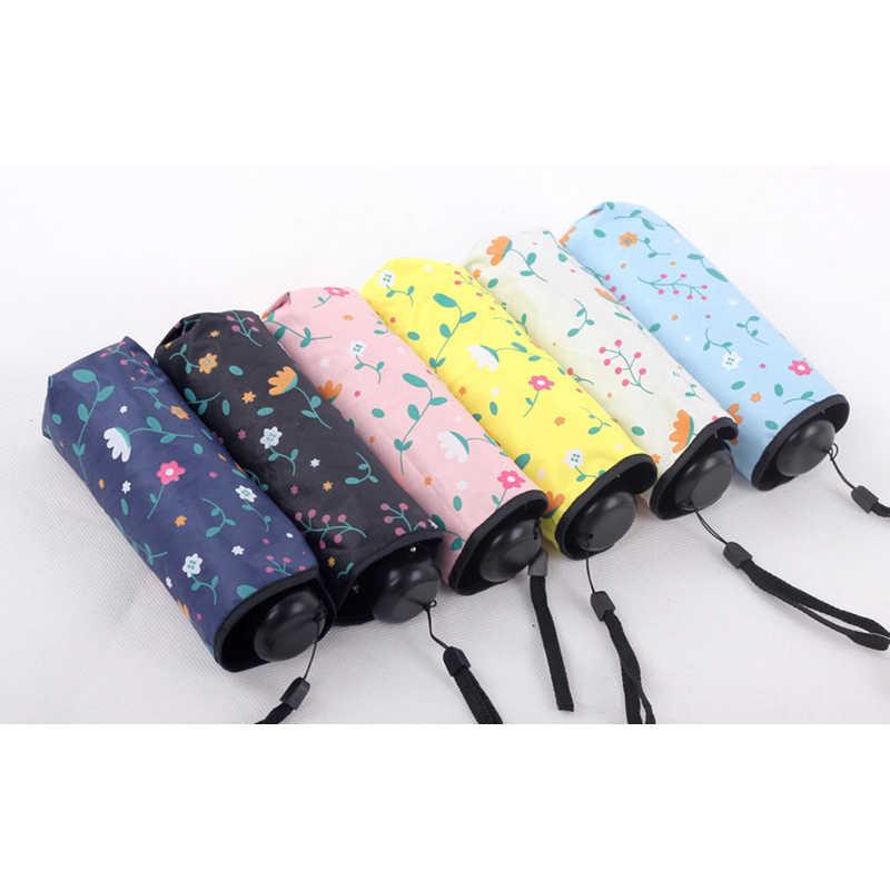 Карманный мини-зонтик для путешествий, женские зонты с черным покрытием, анти-УФ, маленькие зонты, дождь, очень легкие солнечные зонты для девочек, цветок, Paraguas