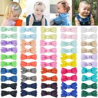 "50PCS 2"" Tiny Baby Girls Hair Bow Solid Color Grosgrain Ribbon Baby Bows Alligator Clips for Girls Infants Toddlers Kids Set of"