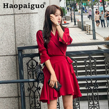 Large Size A-line Casual Red Dress Women Half Sleeve Corset Mini Solid Oversized Autumn Robe