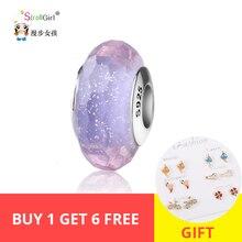 StrollGirl 925 silver beads sparkling Murano glass bead romantic purple charm fit Pandora bracelet diy jewelry making women gift
