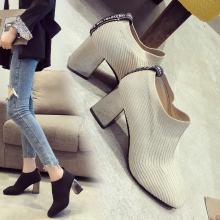 Women Sock Ankle Boots Square Heels Shoes 2019 Winter Booties Fashion Ladies Female High Heel Knitting Elastic Casual
