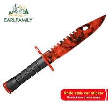 EARLFAMILY 13cm x 10.1cm for FadeCase Red M9 Bayonet Camper Car Stickers Vinyl Anime Decals Funny Custom Printing Window Decor