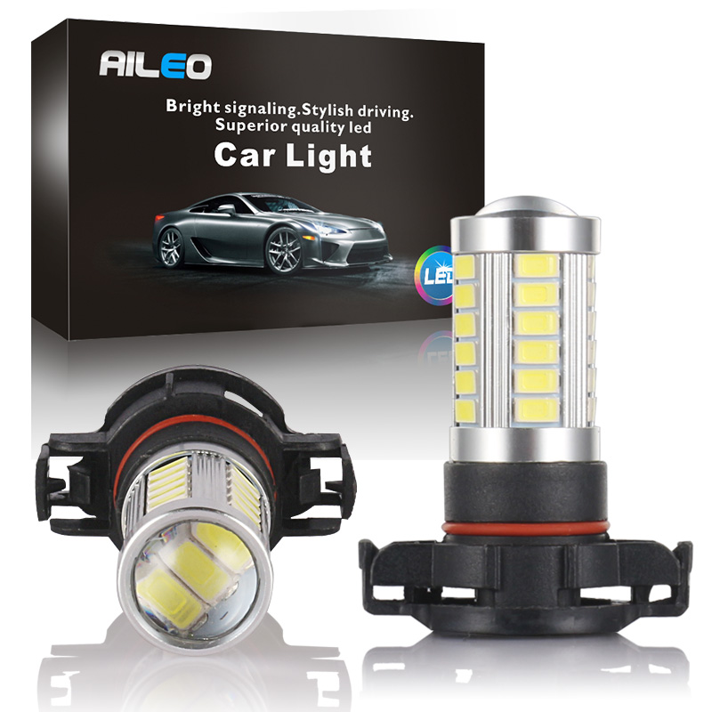 AILEO 5201 5202 LED Fog Light Bulbs Xtreme Super Bright  5W 12V LED PS19W 12085 PS24W Replacement 600LM 6000K White 3000K Amber