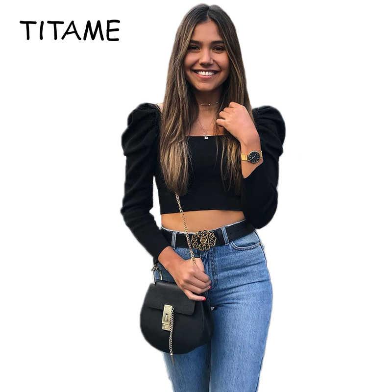 Titame 2020 Musim Semi Musim Panas Hitam Wanita Kemeja Lengan Puf Liar Square Kerah Lengan Panjang Retro Kemeja Wanita Blus Vintage