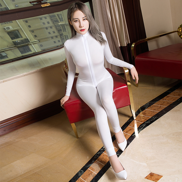 Transparent Slim Romper Skinny Double Zipper Party erotic costumes Sexy See through Open Crotch Bodycon Long Sleeve Jumpsuits 1
