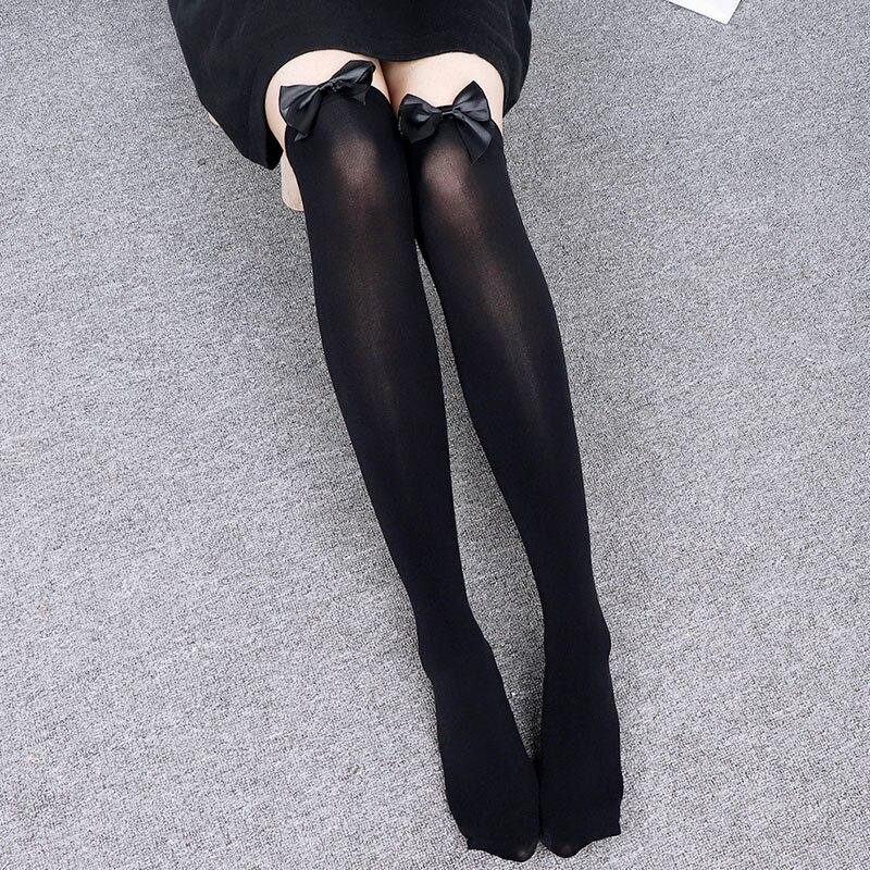 Kawaii pembe yay uyluk yüksek çorap nakış güzel diz çorap kadın çorapları kampüs uzun çorap sevimli kız