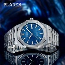 PLADEN luksusowy zegarek kwarcowy męski wodoodporny, odporny na wstrząsy ze stali nierdzewnej biznes Diver Luminous Ome główny prezent świąteczny Dropshipping