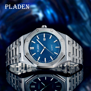 PLADEN Luxury Quartz Men Watch Waterproof Shockproof Stainless Steel Butterfly Buckle Luminous Ome Together Major Holiday Gifts cairo ome