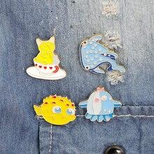Cute Cartoon Cat Animal Underwater World Fish Shark Whale Seahorse Brooch Pin Lapel Hat Badge Enamel Pins Brooches for Women