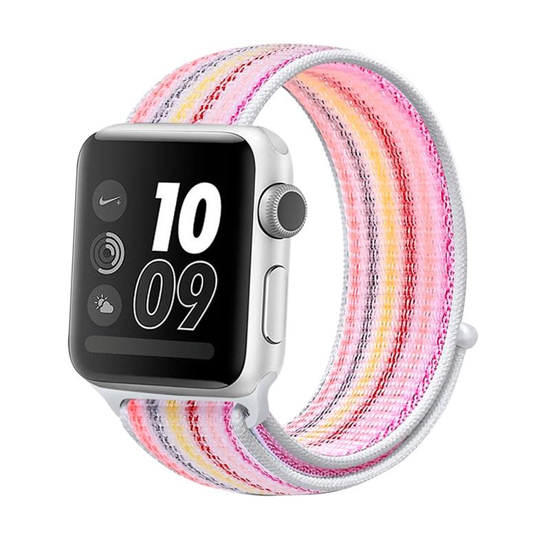 Для наручных часов Apple Watch, версии 3/2/1 38 мм 42 мм нейлон мягкий дышащий нейлон для наручных часов iWatch, сменный ремешок спортивный бесшовный series4/5 40 мм 44 мм - Цвет ремешка: stripe 9