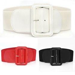 Fashion Leather Big Buckle Waist Corset Belt Wide Elastic Cummerbunds Women Belt Girdle Elegant Slim Solid Decorative Waistband