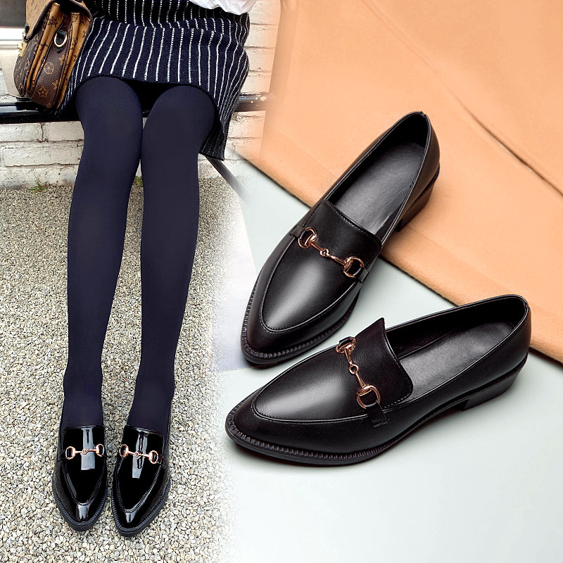 2020 Pointed Womens Flats Shoes Black Casual Leather Loafers Shoes Comfortable Casual Ladies Slip On Shoes mocasines de mujer