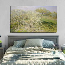 Claude Monet Spring Fruit Trees In Bloom Canvas Painting Living Room Home Decoration Modern Wall Art Oil Poster Picture