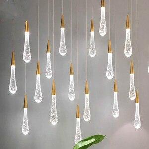 Лестница длинная хрустальная люстра с пузырьками, лампа с каплями воды, современная светодиодная лента, Хрустальный подвесной светильник, ...