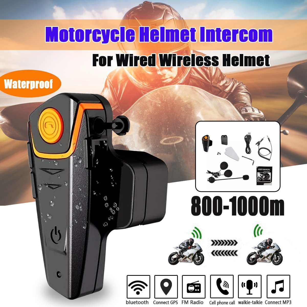 NEW Waterproof Multi BT Interphone 1000M Motorcycle Bluetooth Helmet Intercom Intercomunicador Moto Interfones Headset FM MP3