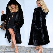 Черное пальто с капюшоном из искусственного меха, зимняя женская длинная куртка из искусственного лисьего меха, модель 2020 года, модные искусственные пальто, элегантные женские теплые куртки Y27