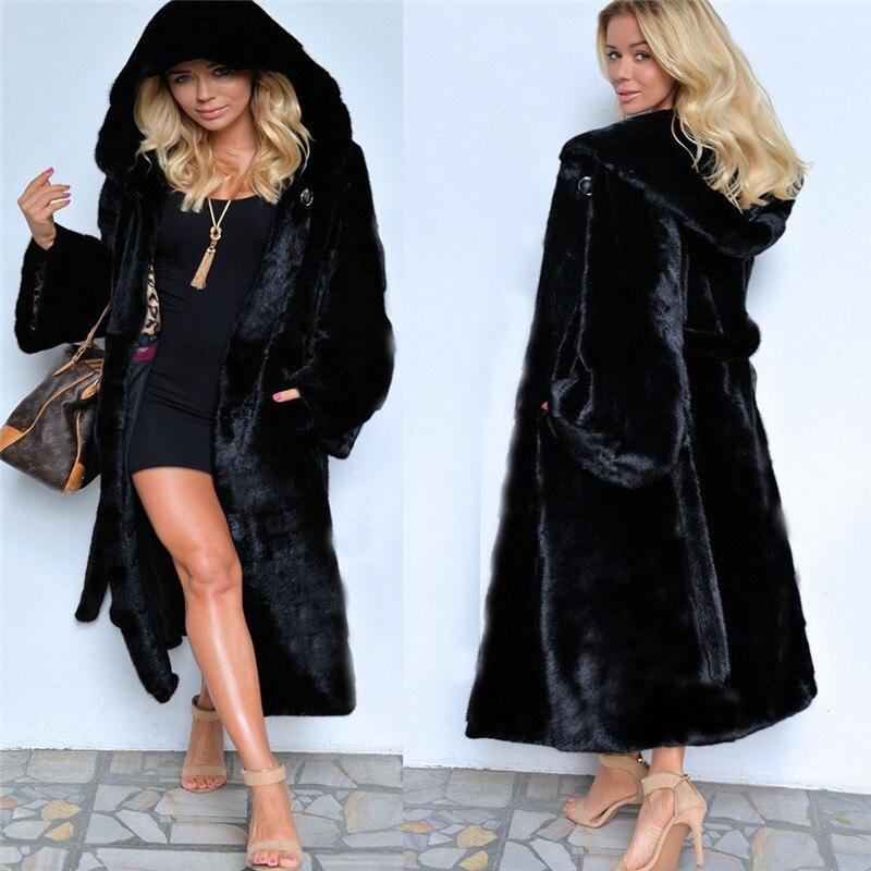 Black Hooded Faux Fur Coat Winter Women Long Faux Fox Fur Jacket  2018 Fashion Plus Size Coats Elegant Lady Warm Jackets Y27Faux Fur   -