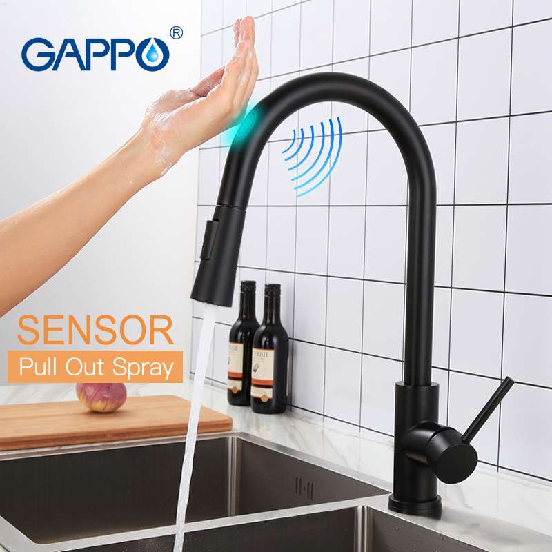 GAPPO Stainless Steel Touch Control Kitchen Faucets Smart Sensor Kitchen Mixer Touch Faucet For Kitchen Pull Out Sink TapsY40112