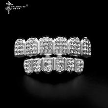 Białe złoto ICED OUT CZ diamenty zęby Top srebrny kolor Tone 3 trzy rzędy GRILL górny i dolny zestaw JOKER ząb Bling Grillz dla mężczyzn tanie tanio CN (pochodzenie) Miedzi Grillz Dental grille TRENDY YLEA35705 Szkielet Metal