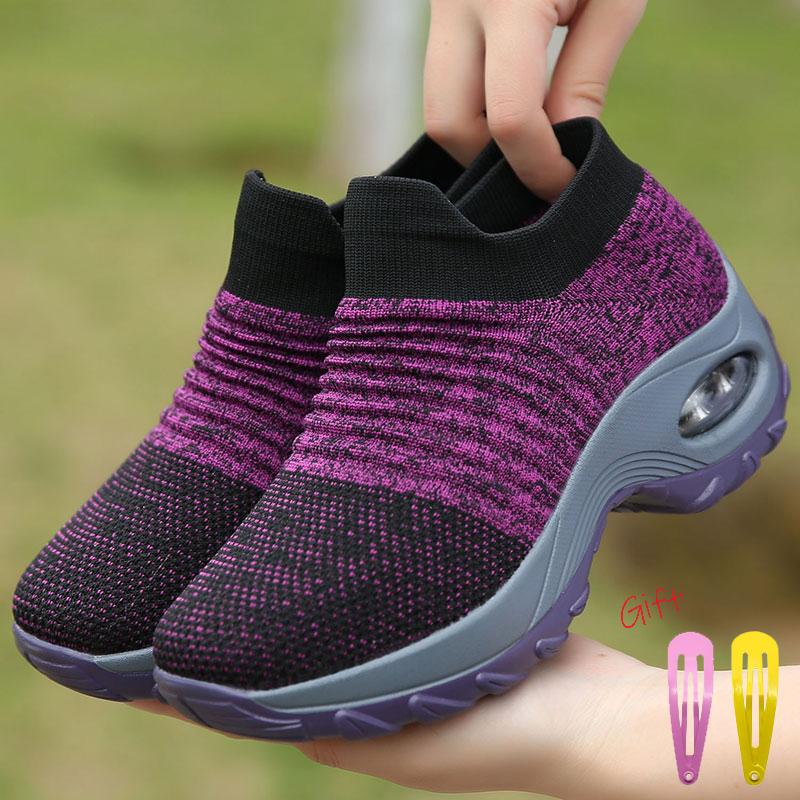 Damyuan Sock Sneakers Flat Shoes Women Shoes Slip On Platform Sneakers Women Casual Black Breathable Mesh Sock Sneakers 2019