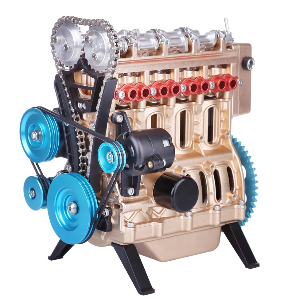Mini In-line Four-cylinder Car Engine Assemble Runnable Engine Model Toys For Researching Industry Studying Set Toy Men Gift
