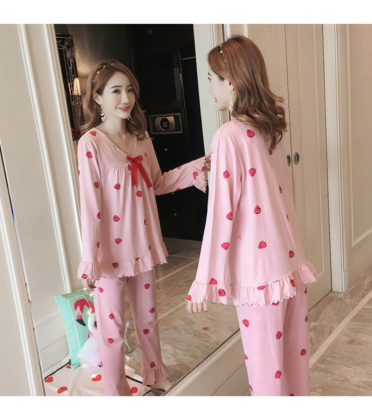Autumn Women Cotton Pajamas Sets 2 Pcs Cartoon Printing Pijama Pyjamas Long Sleeve Bowknot Pyjama Sleepwear Sleep Set 59