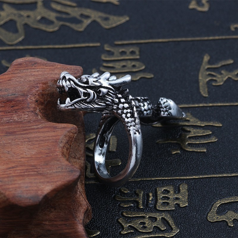 Unisex Gothic Punk Fantasy Dragon /& Flames Adjustable Stainless Steel Ring