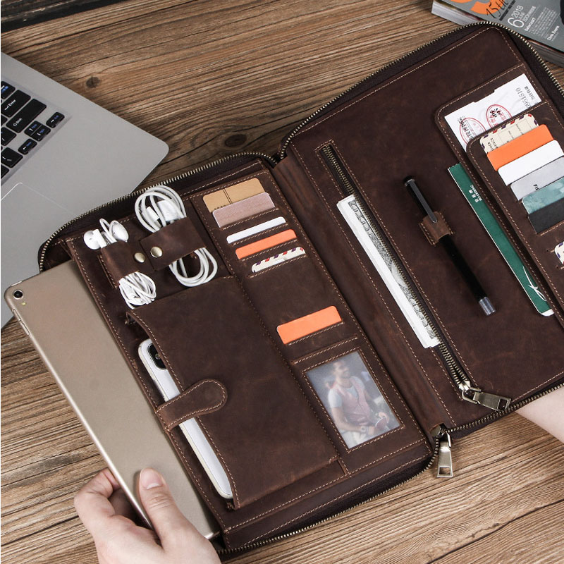 2019 Horse Cow Leather Case Office For IPad Pro 9.7 10.5 Pouch Bag Pouch Passport Holder IPAD Case Bag Student Passport Cover