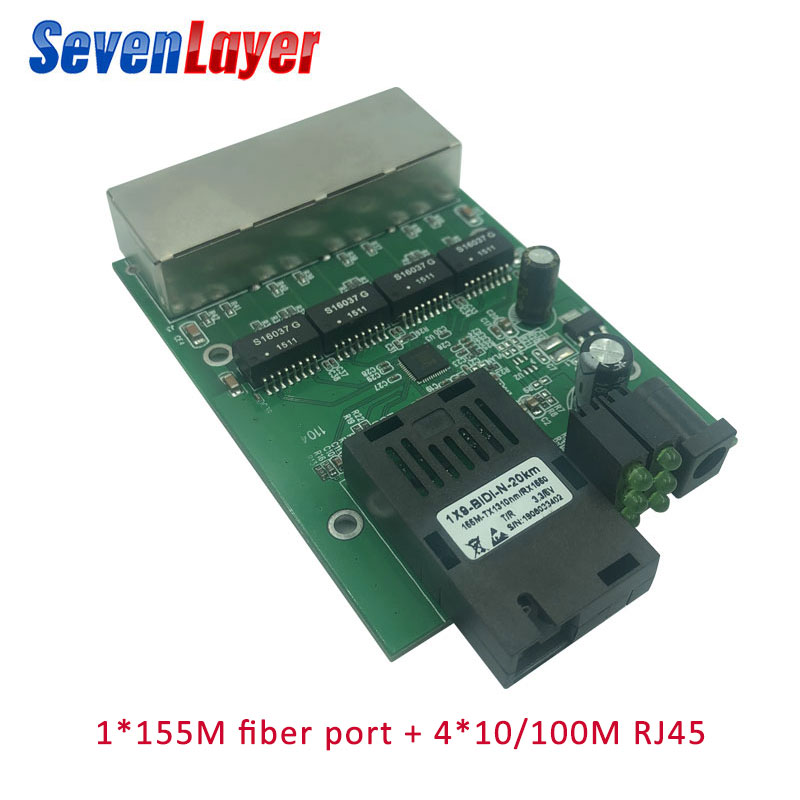 10/100M 4 RJ45 1 SC Fast Ethernet Switch Converter Ethernet Fiber Optical Media Converter Single Mode Fiber Port PCBA 20KM