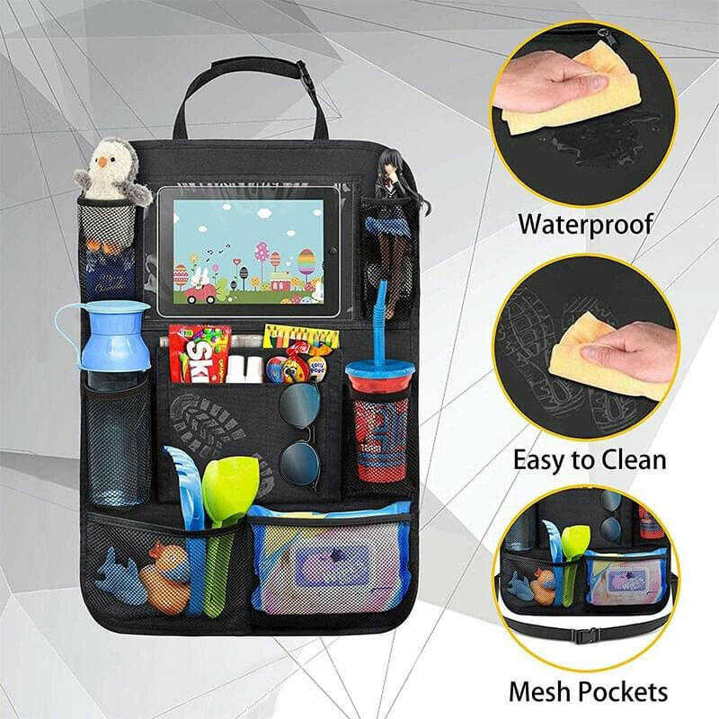Car Back Seat Organiser Travel Storage Bag Organizer iPad with Pocket Holder 9 Storage Pockets for Kids Toddlers