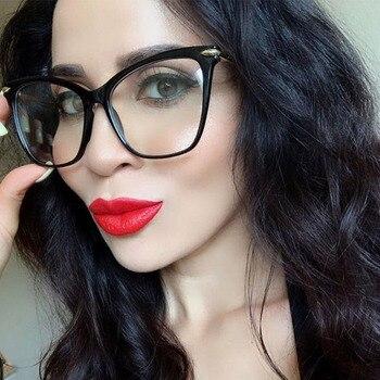 أزياء القط العين النظارات إطارات للنساء مثير المتضخم إطار معدني فاخر تصميم سيدة النظارات البصرية النظارات 1