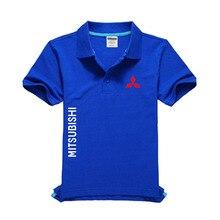 Новая мужская рубашка поло с логотипом Mitsubishi высокого качества, мужская хлопковая рубашка с коротким рукавом, брендовые майки