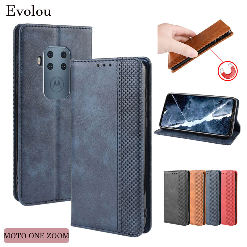 Retro Flip Book Leather Cover for Moto G8 Plus G8 E6 Play One Zoom Magnetic flip Wallet Case for Moto one One Action P40 Power