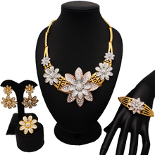 dubai gold flower jewelry sets women fashion necklace bracelets  wedding bride