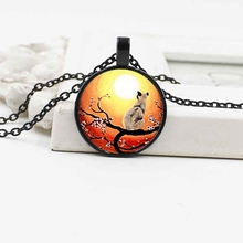 New accessories, under the stars, cat crystal glass pendant necklace alloy jewelry