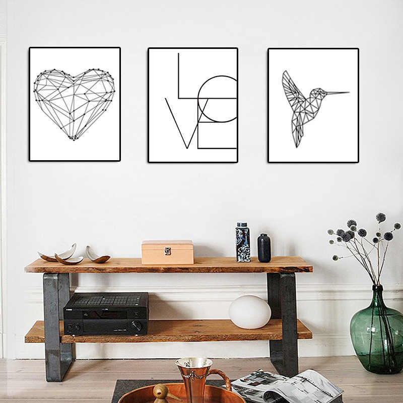Fashion 1PC Heart Canvas Black and White Painting Birds Love Poster Nordic  Wall Pictures  For Living Room Home Decoration