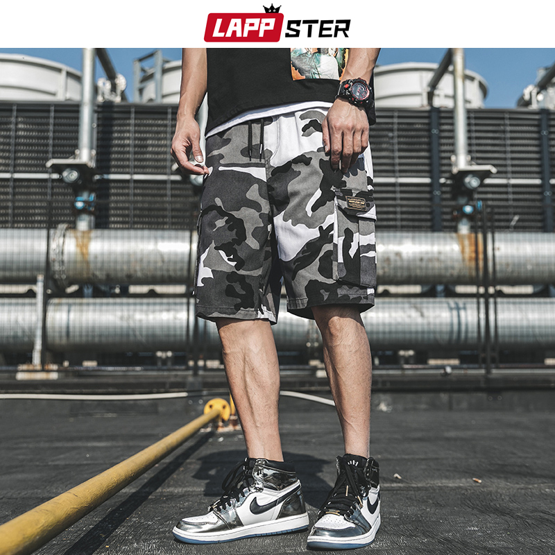 LAPPSTER Summer Camouflage Sweatshorts 2020 Men Basketball Camo Cargo Shorts Cotton Army Green Running Shorts Plus Size Clothing