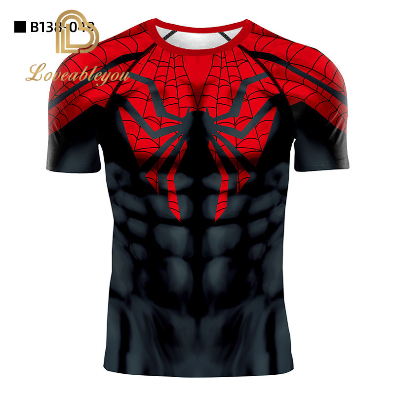 Men/'s Spiderman Skull Shirts Compression Workout Cosplay Costumes Slim Fit Tops