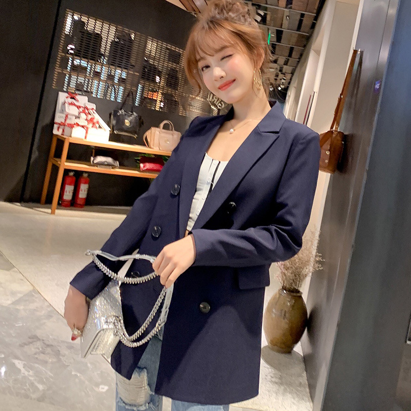 Image 3 - Women Casual Blazer Jacket New Fashion 2019 Spring Autumn Double Breasted Office Lady Long Blazers Coats Female Suit S011-in Blazers from Women's Clothing