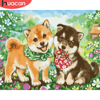 HUACAN Dog Animal Pictures By Number Drawing On Canvas HandPainted Art Kits Home Decoration DIY Gift Oil Painting Flower