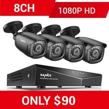 SANNCE 8CH 1080P วิดีโอระบบรักษาความปลอดภัยด้วย 5IN1 1080N DVR 4X 1080P สมาร์ท IR กล้องกันน้ำกลางแจ้งกล้องวงจรปิดชุดการเฝ้าระวัง