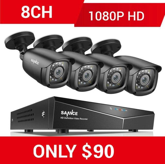 SANNCE 8CH 1080P نظام أمن الفيديو المنزلي مع 5IN1 1080N DVR 4X 1080P الذكية الأشعة تحت الحمراء في الهواء الطلق كاميرا مقاومة للماء طقم مراقبة الدوائر التلفزيونية المغلقة