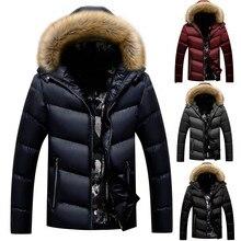 Мужская Зимняя Повседневная однотонная утепленная куртка на молнии с капюшоном, хлопковая стеганая куртка, пальто, doudoune homme casaco abrigos kaban manteau