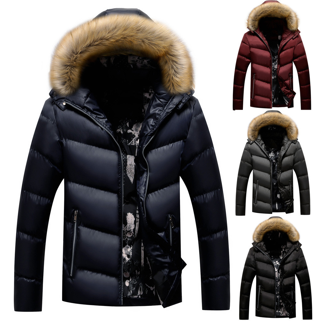 Streetwear  Winter Casual Pure Color Zipper Thickened Hoodie Cotton-padded  Coat Jacket Men Jaqueta Masculino Chaqueta Hombre