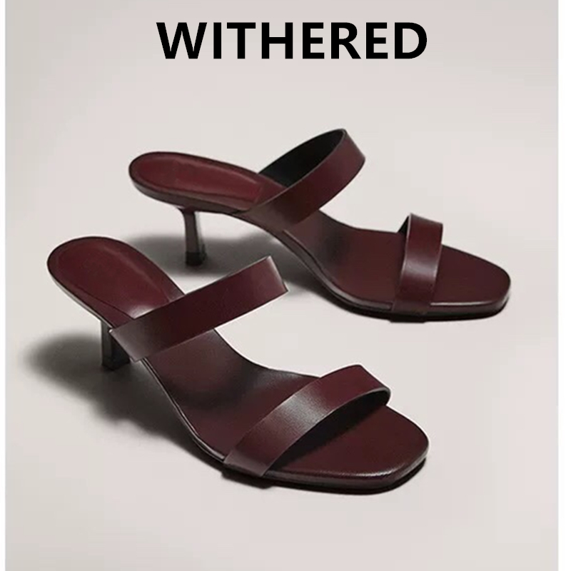 Withered 2020 summer sandals women shoes women england office lady 100% Sheep leather mules heels slippers women shoes woman