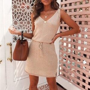 Dress Women V-neck Tie Irregular Sleeveless Above Knee Casual Pink Dignified Noble Novel Short Dress Summer
