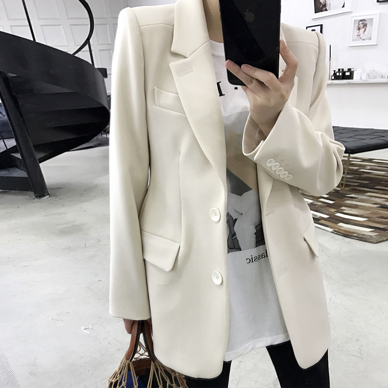 Autumn Blazer Beige Hourglass Slim Fashion Women Coat Ol Blazer