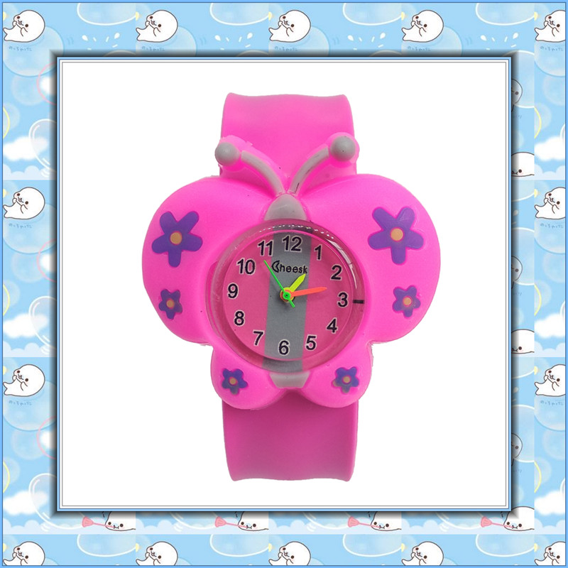 2019 Dropshiping Girls Butterfly Watch Children Students Clock Silicone Tape Patted Child Watches Kids Baby Christmas Gift Clock